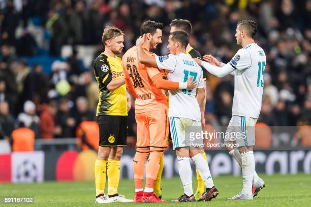 Lucas Vazquez of Real Madrid and Borussia Dortmund Goalkeeper Roman Burki interacts during the Europe Champions League 201718 match between Real...