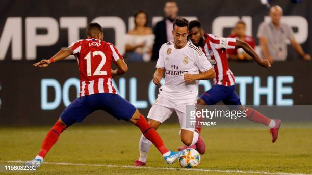 Lucas Vazquez of Real Madrid and Renan Lodi of Atletico de Madrid battle for the ball during the 2019 International Champions Cup between Real Madrid...
