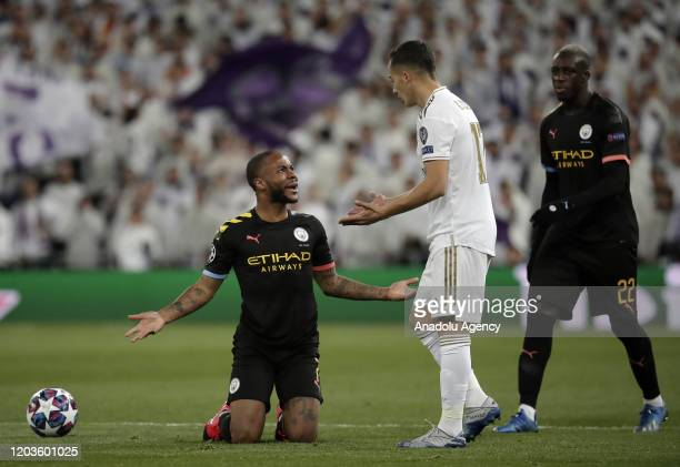 Lucas Vazquez of Real Madrid argues with Raheem Sterling of Manchester City during the UEFA Champions League round of 16 first leg soccer match...