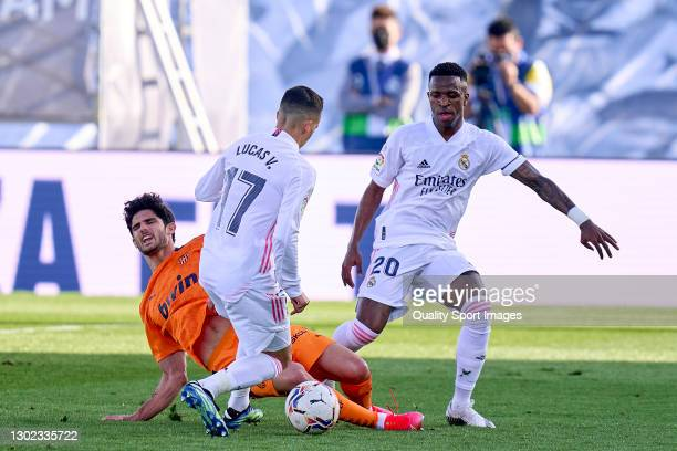 Lucas Vazquez of Real Madrid battle for the ball with Gonzalo Guedes of Valencia during the La Liga Santander match between Real Madrid and Valencia...