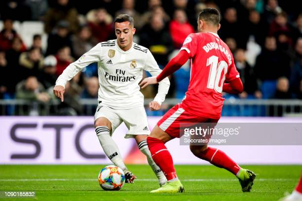 Lucas Vazquez of Real Madrid Borja Garcia of Girona during the Spanish Copa del Rey match between Real Madrid v Girona at the Santiago Bernabeu on...