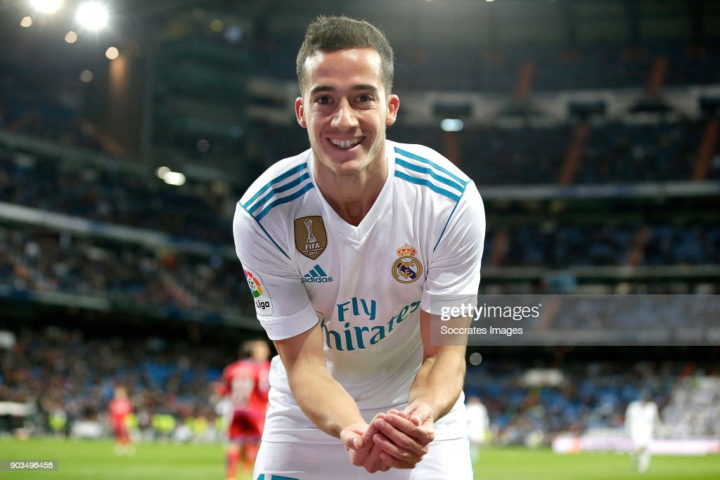 Lucas Vazquez of Real Madrid celebrates 1-0 during the Spanish Copa del Rey match between Real Madrid v Numancia on January 10, 2018