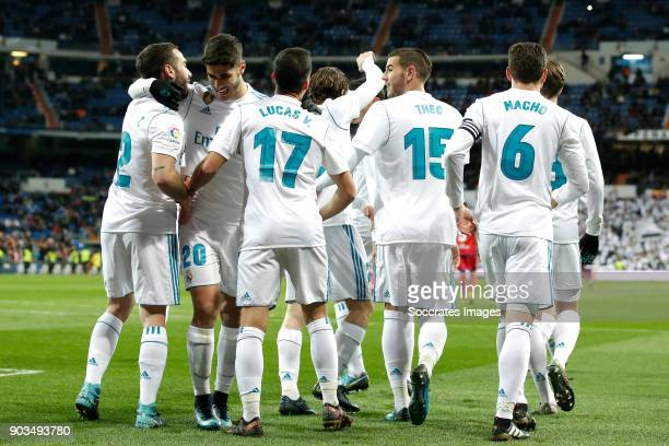 Lucas Vazquez of Real Madrid celebrates 10 with Dani Carvajal of Real Madrid Marco Asensio of Real Madrid Theo Hernandez of Real Madrid Nacho of Real...