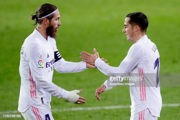 Lucas Vazquez of Real Madrid celebrates 1-3 with Sergio Ramos of Real Madrid during the La Liga Santander match between Eibar v Real Madrid at the...