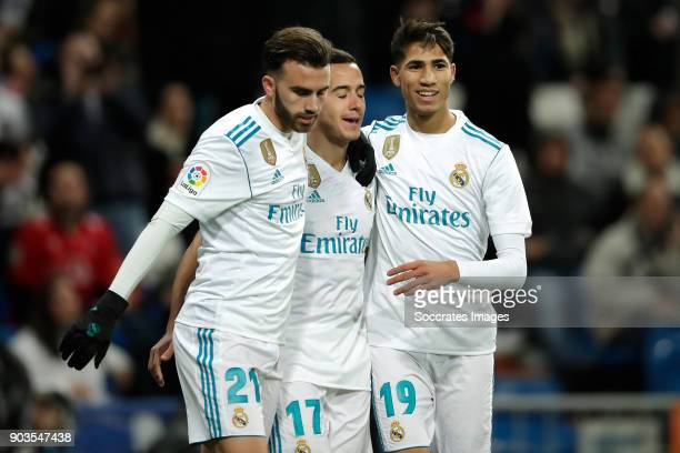 Lucas Vazquez of Real Madrid celebrates 21 with Borja Mayoral of Real Madrid Achraf Hakimi of Real Madrid during the Spanish Copa del Rey match...