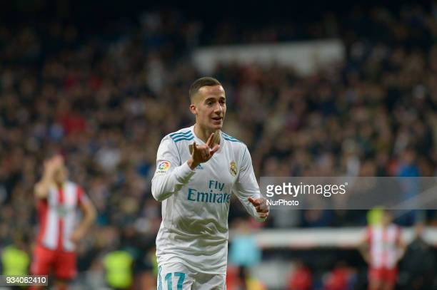 Lucas Vazquez of Real Madrid celebrates after during a match between Real Madrid vs Girona FC at Santiago Bernabeu Stadium on March 18 2018 in Madrid...