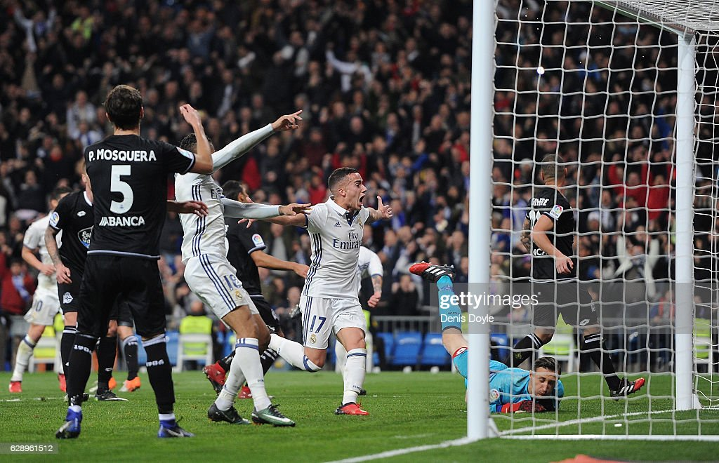 Lucas Vazquez of Real Madrid celebrates after Real scored theie 3rd goal during the La Liga match between Real Madrid CF and RC Deportivo La Coruna at Estadio Santiago Bernabeu on December 10, 2016 in Madrid, Spain.