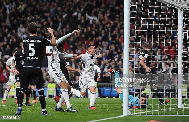Lucas Vazquez of Real Madrid celebrates after Real scored theie 3rd goal during the La Liga match between Real Madrid CF and RC Deportivo La Coruna...