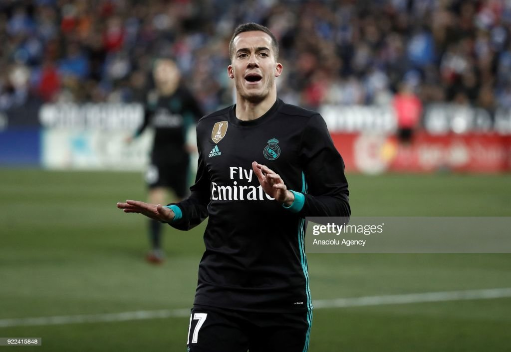Lucas Vazquez of Real Madrid celebrates after scoring a goal during the La Liga football match between Leganes and Real Madrid at the Estadio Municipal Butarque in Madrid, Spain on February 21, 2018.