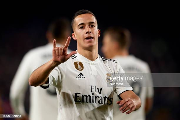 Lucas Vazquez of Real Madrid celebrates after scoring his sides first goal during the Spanish Cup first leg semifinal match between FC Barcelona and...