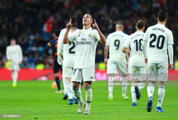 Lucas Vazquez of Real Madrid celebrates after scoring his team's second goal during the La Liga match between Real Madrid CF and Valencia CF at...