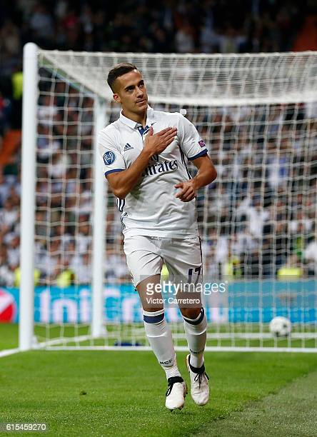 Lucas Vazquez of Real Madrid celebrates after scoring his team's fourth goal during the UEFA Champions League Group F match between Real Madrid CF...