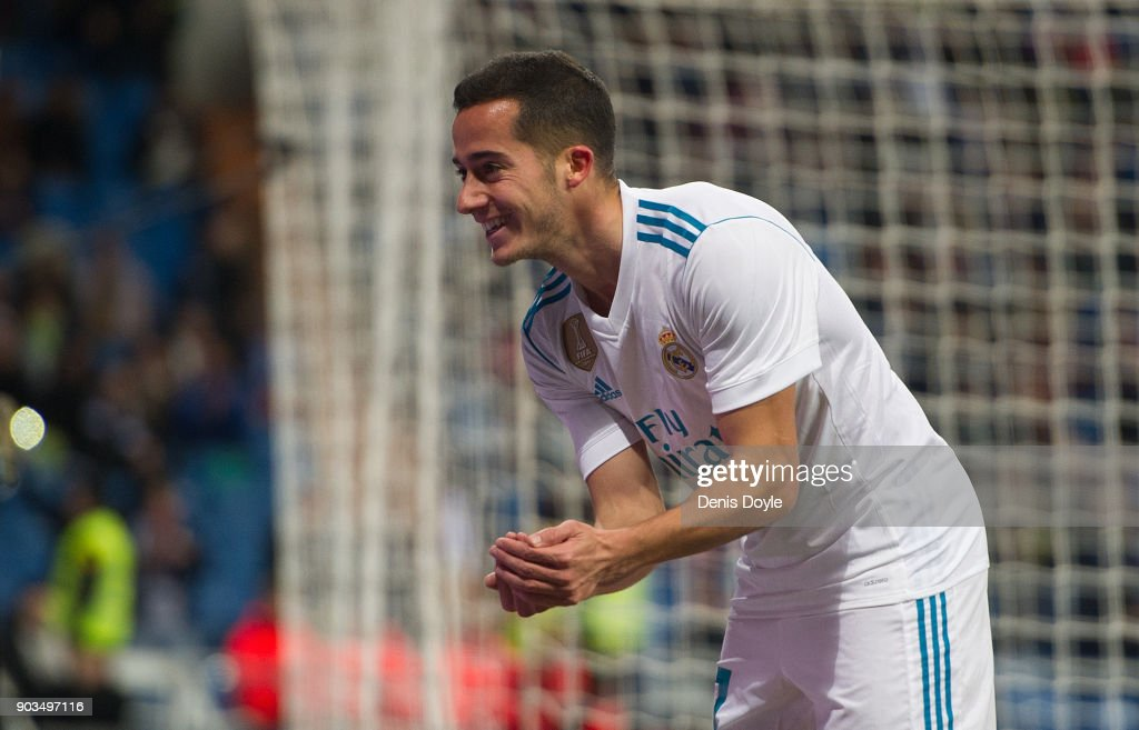 Lucas Vazquez of Real Madrid celebrates after scoring his team's opening goal during the Copa del Rey, round of 16, second leg match between between Real Madrid and Numancia at estadio Santiago Bernabeu on January 10, 2018 in Madrid, Spain.