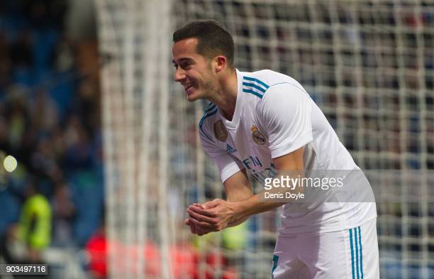 Lucas Vazquez of Real Madrid celebrates after scoring his team's opening goal during the Copa del Rey round of 16 second leg match between between...
