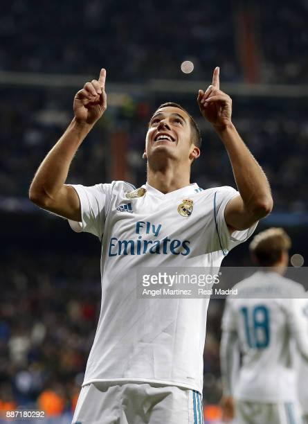 Lucas Vazquez of Real Madrid celebrates after scoring his team's third goal during the UEFA Champions League group H match between Real Madrid CF and...