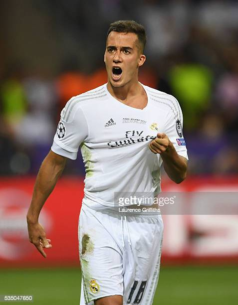 Lucas Vazquez of Real Madrid celebrates scoring his penalty during shoot out during the UEFA Champions League Final match between Real Madrid and...