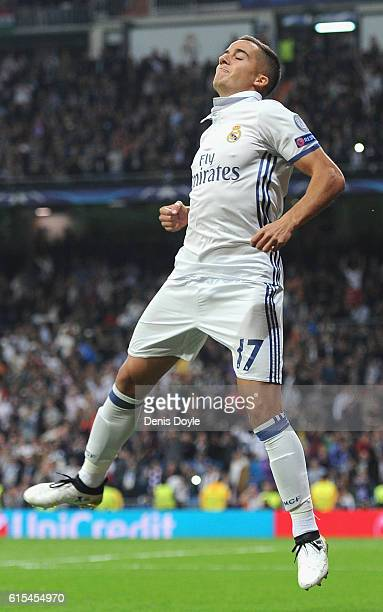Lucas Vazquez of Real Madrid celebrates scoring his team's fourth goal during the UEFA Champions League Group F match between Real Madrid CF and...
