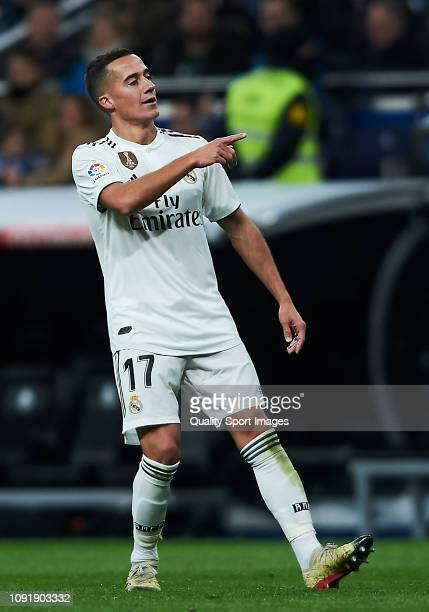 Lucas Vazquez of Real Madrid celebrates scoring his team's second goal during the Copa del Rey Round of 16 match between Real Madrid and Leganes at...