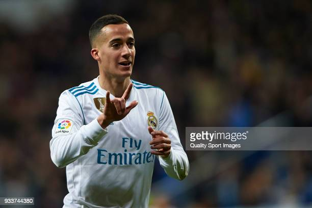 Lucas Vazquez of Real Madrid celebrates scoring his team's third goal during the La Liga match between Real Madrid and Girona at Estadio Santiago...