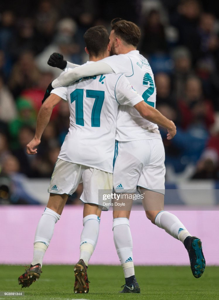 Lucas Vazquez (left) of Real Madrid celebrates with Borja Mayoral after scoring his teamÕs 2nd goal during the Copa del Rey, round of 16, second leg match between between Real Madrid and Numancia at estadio Santiago Bernabeu on January 10, 2018 in Madrid, Spain.