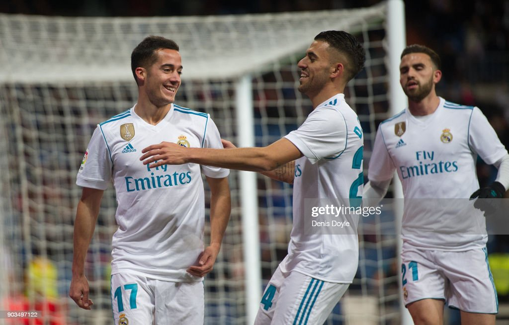 Lucas Vazquez of Real Madrid celebrates with Daniel Ceballos after scoring his team's opening goal during the Copa del Rey, round of 16, second leg match between between Real Madrid and Numancia at estadio Santiago Bernabeu on January 10, 2018 in Madrid, Spain.