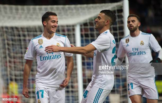 Lucas Vazquez of Real Madrid celebrates with Daniel Ceballos after scoring his team's opening goal during the Copa del Rey round of 16 second leg...