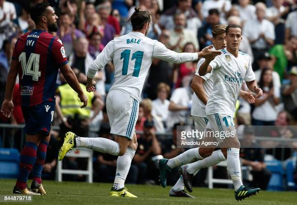 Lucas Vazquez of Real Madrid celebrates with his teammate Gareth Bale after scoring during the La Liga soccer match between Real Madrid and Levante...