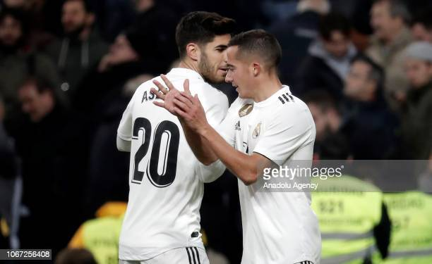 Lucas Vazquez of Real Madrid celebrates with his teammate Marco Asensio after scoring a goal during La Liga football match between Real Madrid and...