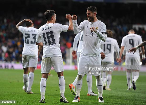 Lucas Vazquez of Real Madrid celebrates with Sergio Ramos after scoring Real's 2nd goal during the La Liga match between Real Madrid and Villarreal...