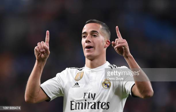 Lucas Vazquez of Real Madrid CF celebrates after scoring his team's 2nd goal during the Copa del Rey Round of 16 match between Real Madrid CF and CD...