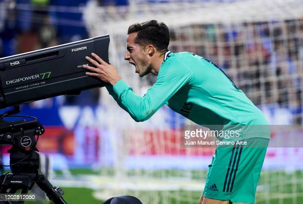 Lucas Vazquez of Real Madrid CF celebrates after scoring his team's second goal during the Copa del Rey Round of 16 match between Real Zaragoza and...