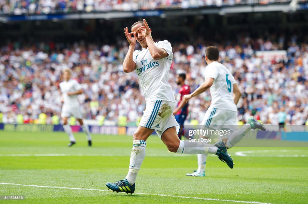 Lucas Vazquez of Real Madrid CF celebrates after scoring his team's first goal during the La Liga match between Real Madrid and Levante at Estadio Santiago Bernabeu on September 9, 2017 in Madrid, .