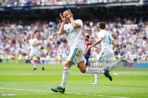 Lucas Vazquez of Real Madrid CF celebrates after scoring his team's first goal during the La Liga match between Real Madrid and Levante at Estadio...