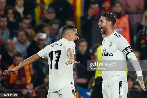 Lucas Vazquez of Real Madrid CF celebrates with his team mate Sergio Ramos after scoring his team's first goal during the Copa del Semi Final first...