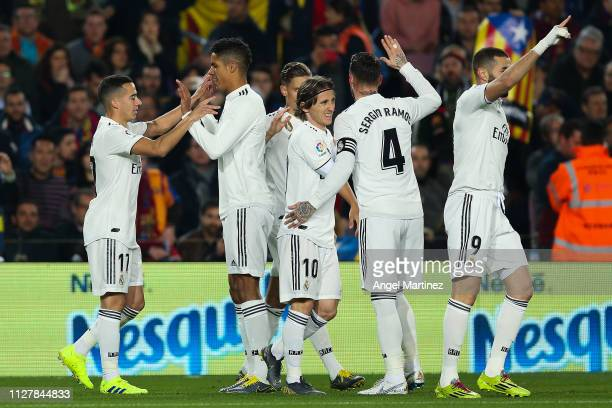 Lucas Vazquez of Real Madrid CF celebrates with his team mates after scoring his team's first goal during the Copa del Semi Final first leg match...