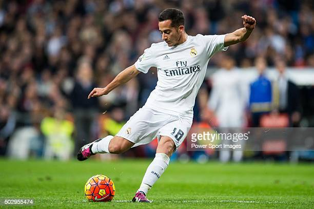 Lucas Vazquez of Real Madrid CF in action during the Real Madrid CF vs Real Sociedad match as part of the Liga BBVA 20152016 at the Estadio Santiago...