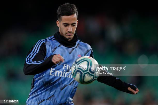 Lucas Vazquez of Real Madrid CF in action during the warm up prior to the Liga match between Real Betis Balompie and Real Madrid CF at Estadio Benito...