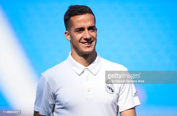 Lucas Vazquez of Real Madrid CF looks on prior to the start the La Liga match between Real Sociedad and Real Madrid CF at Estadio Anoeta on May 12...