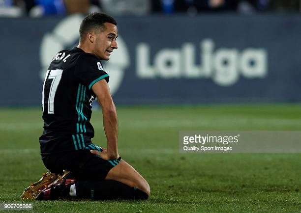 Lucas Vazquez of Real Madrid CF reacts during the Copa del Rey quarter final first leg match between Real Madrid CF and Club Deportivo Leganes at...