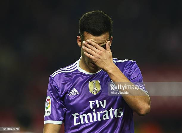 Lucas Vazquez of Real Madrid CF reacts during the Copa del Rey Round of 16 Second Leg match between Sevilla FC vs Real Madrid CF at Ramon Sanchez...