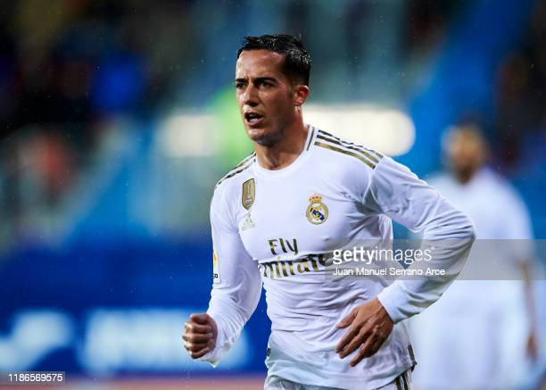 Lucas Vazquez of Real Madrid CF reacts during the Liga match between SD Eibar SAD and Real Madrid CF at Ipurua Municipal Stadium on November 09 2019...