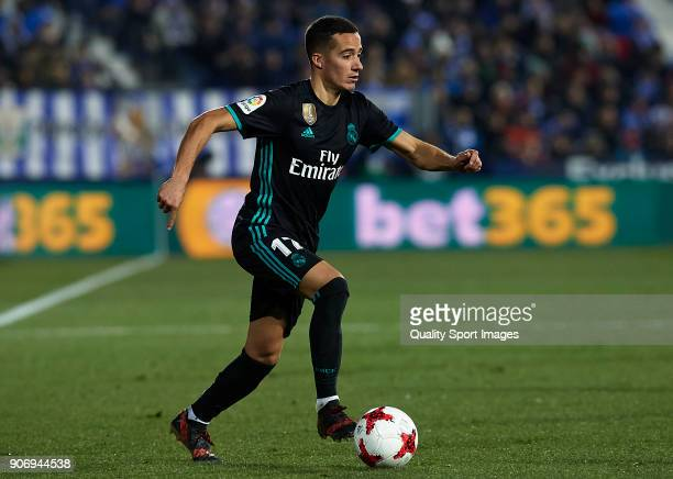 Lucas Vazquez of Real Madrid CF runs with the ball during the Copa del Rey quarter final first leg match between Real Madrid CF and Club Deportivo...