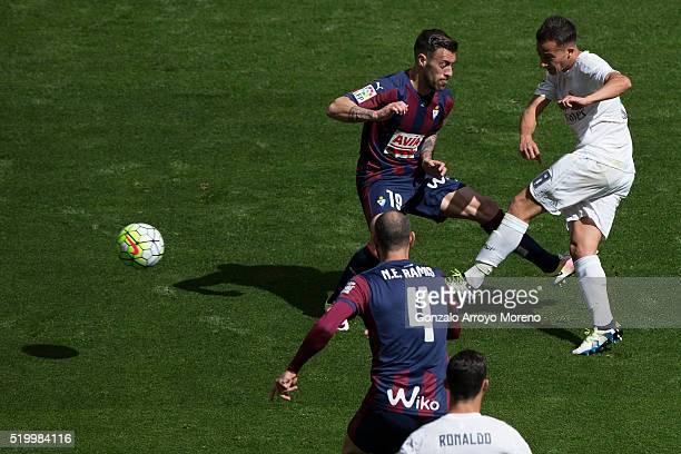Lucas Vazquez of Real Madrid CF scores their second goal during the La Liga match between Real Madrid CF and SD Eibar at Estadio Santiago Bernabeu on...