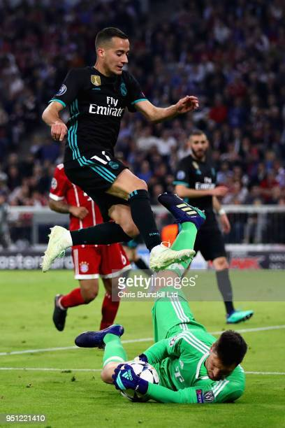 Lucas Vazquez of Real Madrid challenges for the ball with Sven Ulreich of Bayern Muenchen during the UEFA Champions League Semi Final First Leg match...