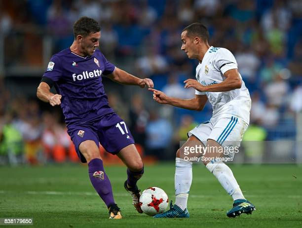 Lucas Vazquez of Real Madrid competes for the ball with Jordan Veretout of Fiorentina during the Trofeo Santiago Bernabeu match between Real Madrid...