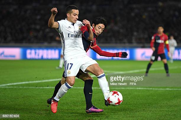 Lucas Vazquez of Real Madrid Daigo Nishi of Kashima Antlers in action during the FIFA Club World Cup Final match between Real Madrid and Kashima...