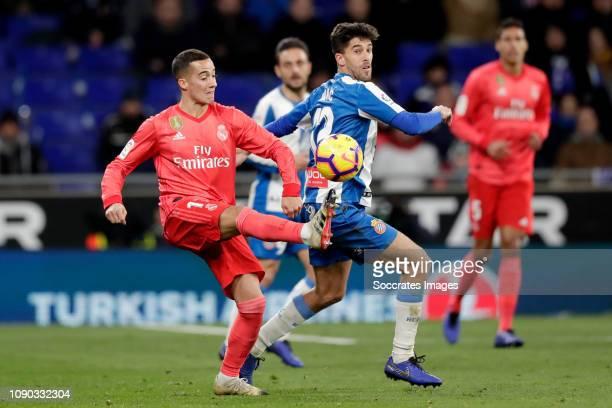 Lucas Vazquez of Real Madrid Didac Vila of Espanyol during the La Liga Santander match between Espanyol v Real Madrid at the RCDE Stadium on January...
