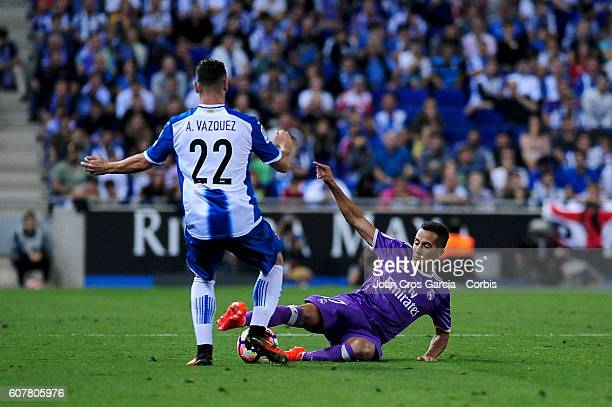 Lucas Vazquez of Real Madrid fighting for the ball with Álvaro Vázquez during the Spanish League match between RCD Espanyol vs Real Madrid CF at...
