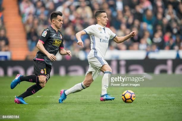 Lucas Vazquez of Real Madrid fights for the ball with Jose Manuel Jurado Marin of RCD Espanyol during the match Real Madrid vs RCD Espanyol a La Liga...
