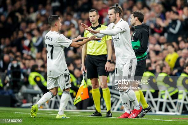 Lucas Vazquez of Real Madrid Gareth Bale of Real Madrid during the Spanish Copa del Rey match between Real Madrid v FC Barcelona at the Santiago...